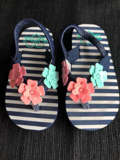 BN OshKosh Toddler Floral Flip Flops Size Small