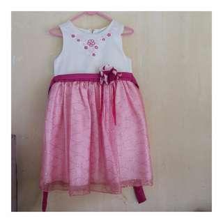 Party Dress white-pink / Dress pesta warna putih-pink