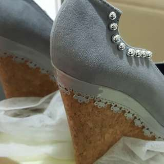 Wedge High Heels Sued Close Shoes
