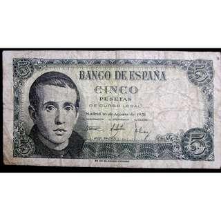 1951年西班牙銀行(Bank of Spain))鮑爾梅斯修士像5彼索塔(Pesetas)鈔票