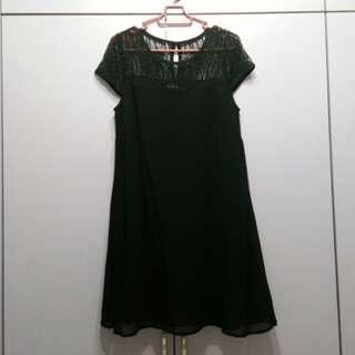 Something borrowed black lace flare dress