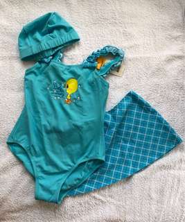 Looney Tunes One Piece with skirt and swimming cap