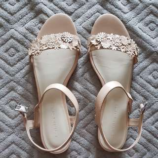 Charles and Keith flower open toe flat in nude