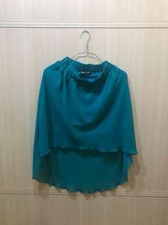 Blue green sheer mullet skirt