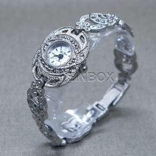 黑礦石古銀色女裝首飾鍊錶