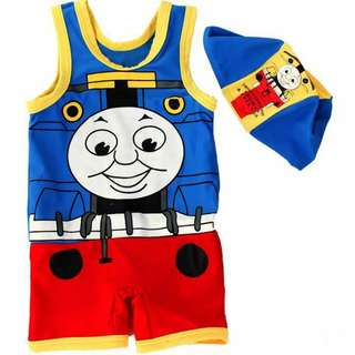 New Thomas and Friends swimsuit with cap 全新湯瑪仕男童泳衣+泳帽