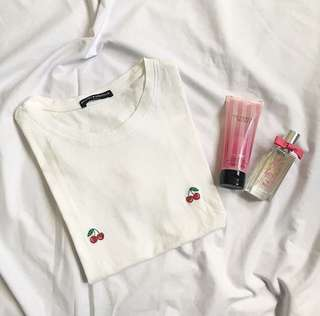 Brandy Melville embroidered cherries shirt