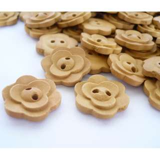 WB10169 - 18mm flower shaped crafted wooden buttons, wood buttons (10 pieces)  #craft