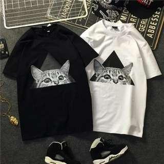 🚚 💝春夏大碼bf港風潮牌街頭/嘻哈/滑板/卡通貓男女款情侶裝短袖T恤