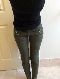 Zara Z1975 Basic Denim Mid Rise Jeans in Khaki