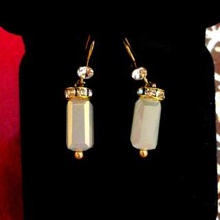 BN Hand-made Crystals gold tone earrings