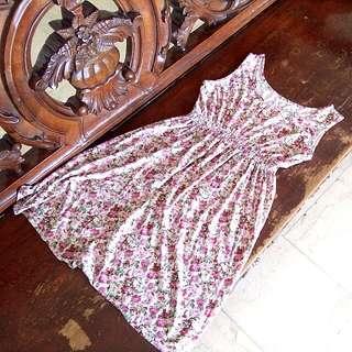 Pink Floral Summer Dress Sleeveless