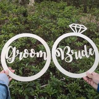 Perwedding DECO 木牌 Bride Groom 草地證婚 教堂婚宴