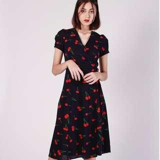 (PO) Cherry Berry Wrap Midi Dress