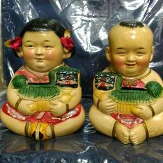 Vintage Boy Girl clay figurines