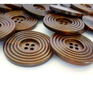 WB10171 - 38mm Multi Lines Design wooden buttons, wood buttons (10 pieces) #craft