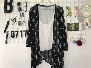 Cross Print Mesh Cardigan
