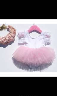 Baby Girl Pink tutu Dress Ballet Children Newborn Kids Romper [PO]
