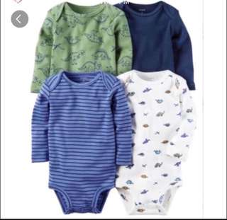*3M* Brand New Carter's 4-Pack Long Sleeve Bodysuits For Baby Boy