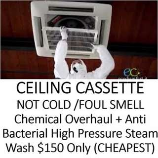 Aircon CEILING CASSETTE CHEMICAL OVERHAUL PROMO $150 SERVICE