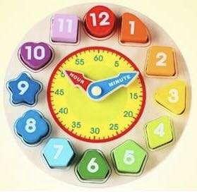 Wooden children shape matching clock
