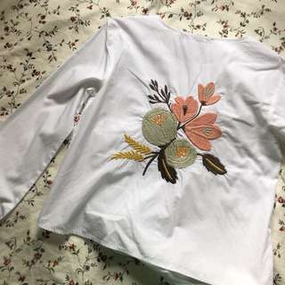 Zara Embroidered White Blouse / Shirt