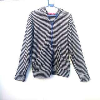 Grey / Gray Bado Fleece Hoodie / Jacket / Stripes