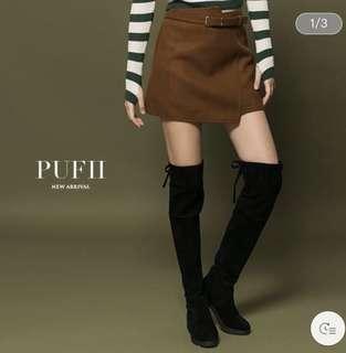 🚚 Pufii 咖啡色短裙 S 全新