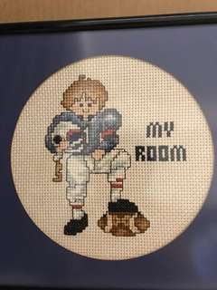 Framed cross stitch for boy