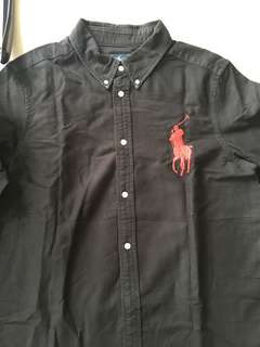 Polo black shirt with big horse logo