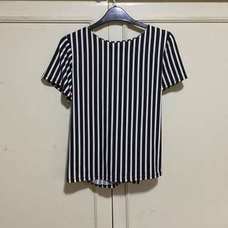 Striped Top with Back Zipper