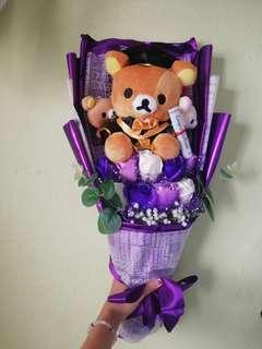 Graduation Rilakkuma Bear Flower Bouquet