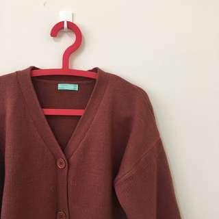 鐵鏽紅針織外套 韓版