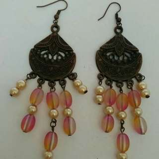 Ethnic Earings with beads and crystals