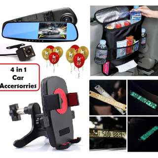4 in 1 Car Cam Recorder Accer Set Bag Holder Plate Reminder