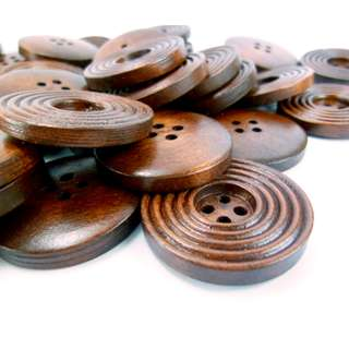WB11065 - 30mm Multi Lines Design Wooden Buttons, Wood Buttons (10 pieces)  #craft