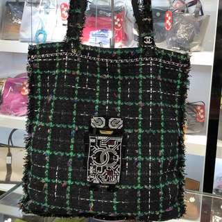 正品 95%新 Chanel 機械人黑綠色編織上膊Tote Bag
