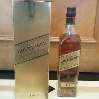 @舊裝連盒Johnnie Walker 18 Yr Gold Label 40% 75cl Blended Whisky 尊尼獲加金牌18年調和威士忌