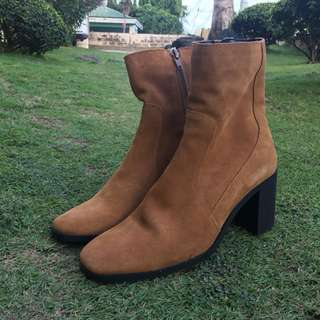 Zara Brown Faux Suede Heeled Boots