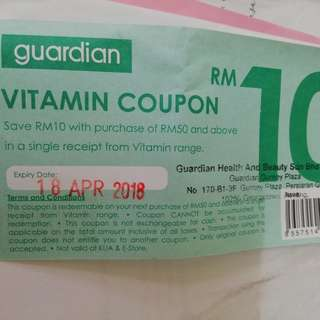 Guardian RM 10 vitamin range voucher