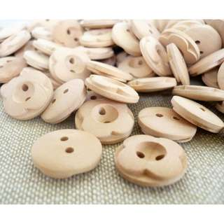 WB11059 - 14mm flower shape crafted wooden buttons, wood buttons (10 pieces)  #craft