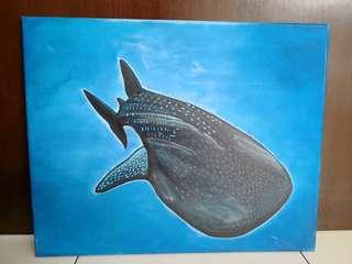 Acrylic painting - Whale shark in the Deep blue sea