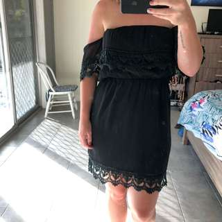 Black dress with lace trim