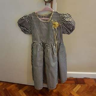 SALE Gold and black Gingham Dress