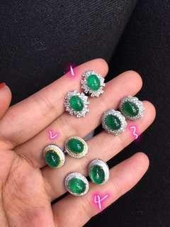 18K白金 天然祖母綠鑽石耳釘