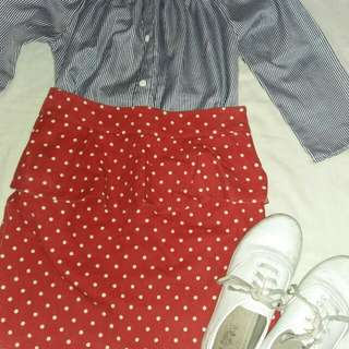 Faded red skirt