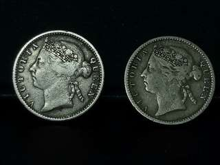 ☆☆ 2 Pcs Queen Victoria Silver Coin ☆☆