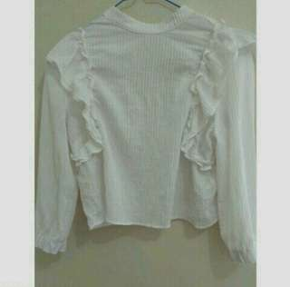 Bershka Ruffles White Long Sleeved Top