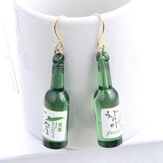 Soju bottle hook ear ring