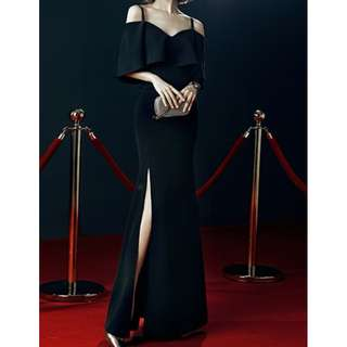 Black Off Shoulder Evening Long Dress
